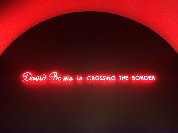 "Neon sign in the MCA Chicago's fourth floor, introducing ""David Bowie Is..."""