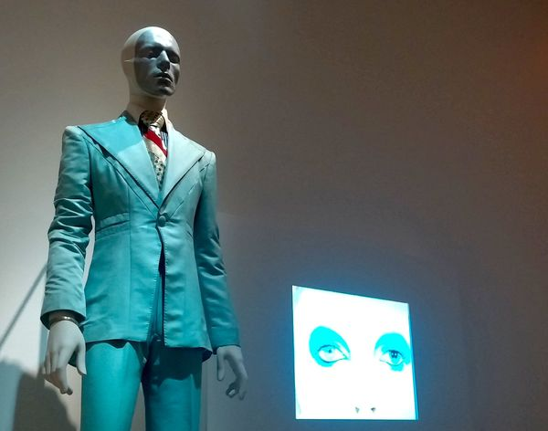 "The slender blue suit worn for Bowie's ""Life on Mars?"" 1972 video. Bowie reportedly had a 26-inch waist at the time."