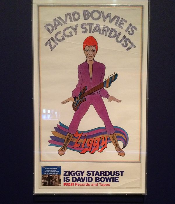 A promotional poster showing a cartoon Bowie as Ziggy Stardust.