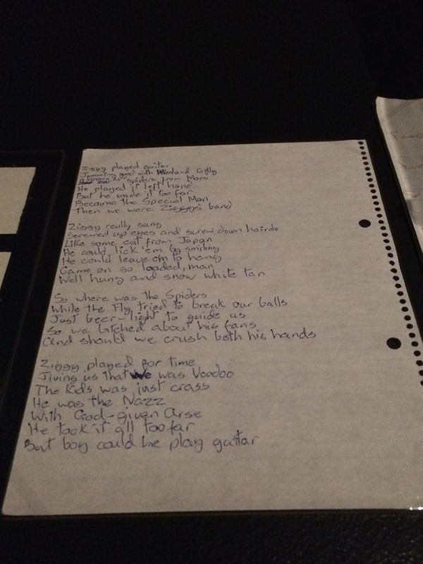 "Handwritten lyrics to ""Ziggy Stardust"" in 1972."