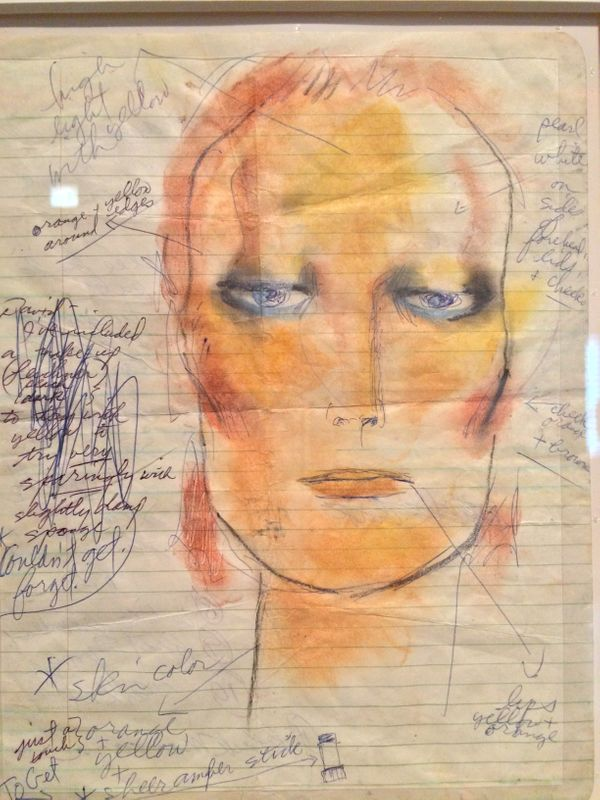 "Bowie's notes for his makeup during the ""Diamond Dogs"" era."