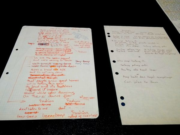 "At left, handwritten lyrics to ""Fashion,"" the second single off 1980's ""Scary Monsters (and Super Creeps)."""