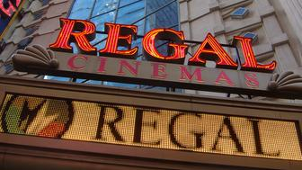 NEW YORK, NY - DECEMBER 08:  A general view of the exterior of Regal Cinema Multiplex on 42nd Street on December 8, 2011 in New York City.  (Photo by Ben Hider/Getty Images)