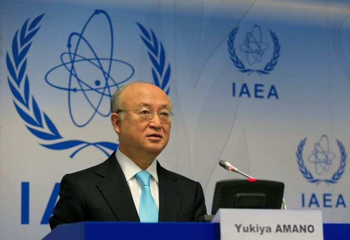 International Atomic Energy Agency General-Director Yukiya Amano attends a press conference as part of the Board of Governors