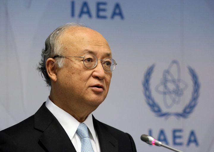 Director General Yukiya Amano speaks during a news conference after a meeting of the IAEA board of governors at the Internati