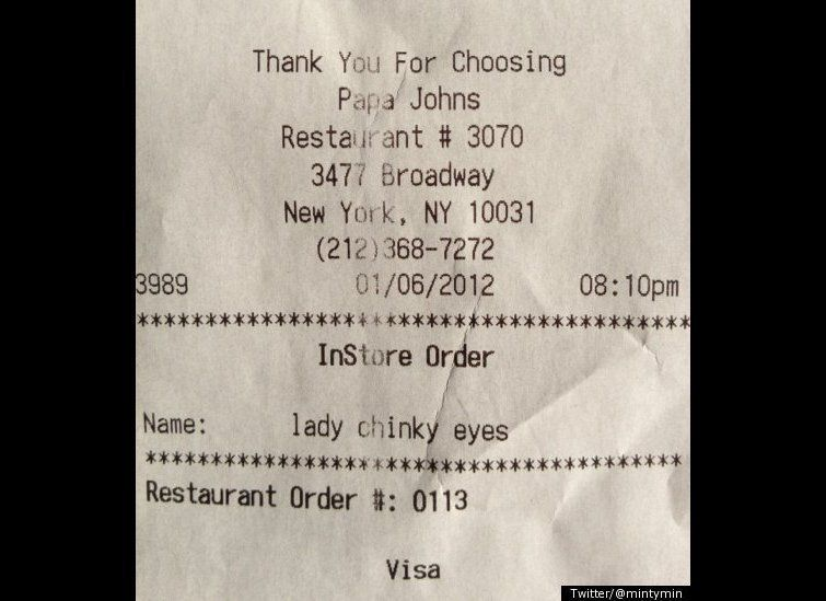 "A Papa John's customer snapped a photo of her receipt, which contained an <a href=""https://www.huffpost.com/entry/lady-chinky"
