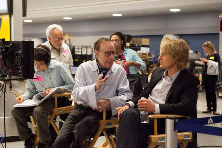 """<span>Peter Bogdanovich consults with&nbsp;Owen Wilson on the set of """"She's Funny That Way.""""</span>"""