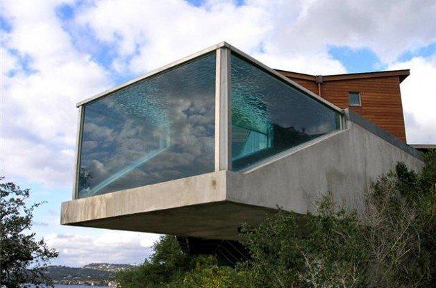 Glass bottom swimming pools