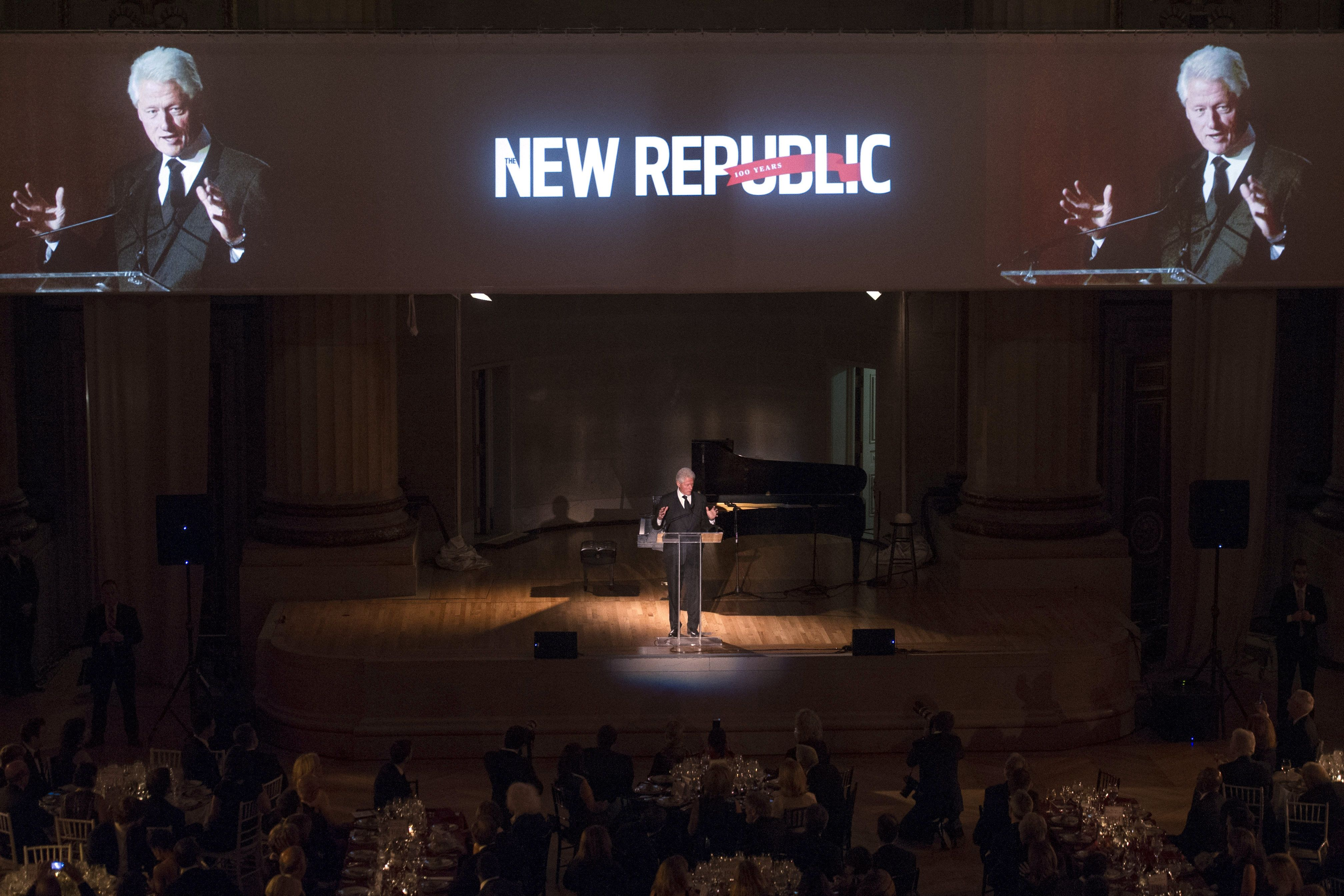 Former President Bill Clinton gives the keynote speech at the New Republic Centennial Gala Dinner at the Andrew Mellon Auditorium in Washington, Wednesday, Nov. 19, 2014. (AP Photo/Cliff Owen)