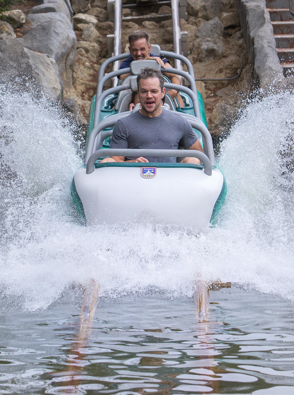 (August 20, 2015) Matt Damon rides Matterhorn Bobsleds with family and friends at Disneyland park in Anaheim, Calif., on Thursday. (Paul Hiffmeyer/Disneyland)