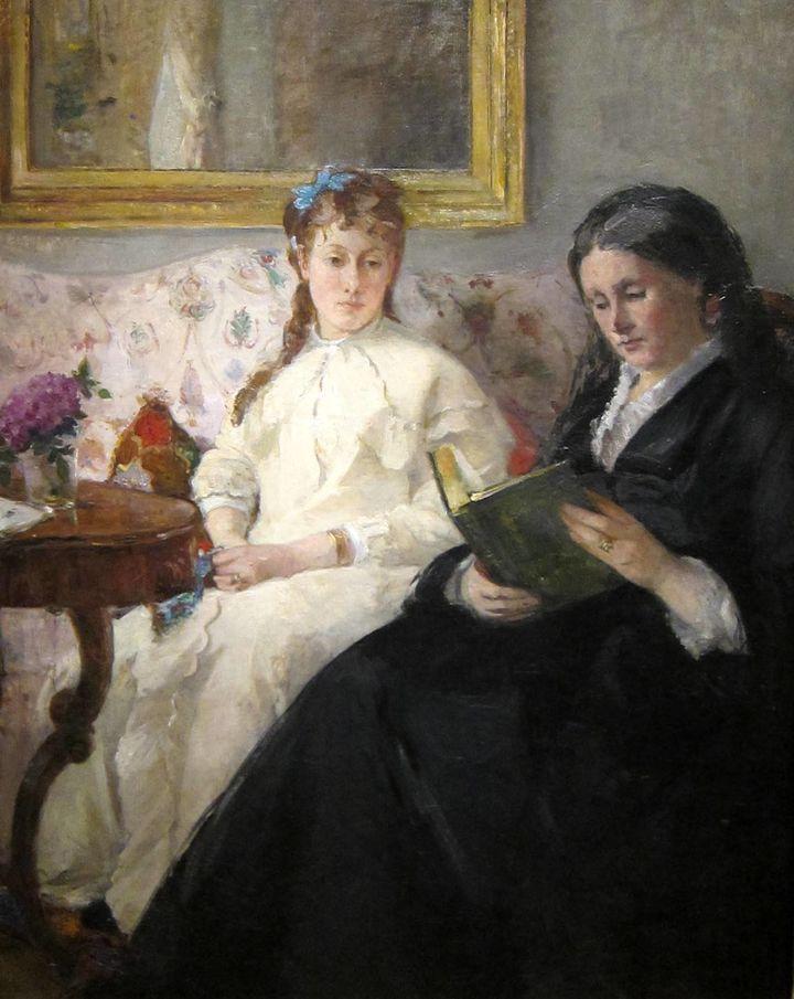 """Berthe Morisot, """"Portrait de Mme Morisot et de sa fille Mme Pontillon ou La lecture (The Mother and Sister of the Artist - Ma"""