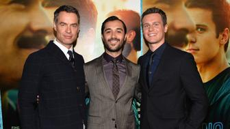 HOLLYWOOD, CA - JANUARY 15:  Actors Murray Bartlett, Frankie J. Alvarez and Jonathan Groff arrive to the premiere of HBO's 'Looking' at Paramount Theater on the Paramount Studios lot on January 15, 2014 in Hollywood, California.  (Photo by Alberto E. Rodriguez/Getty Images)