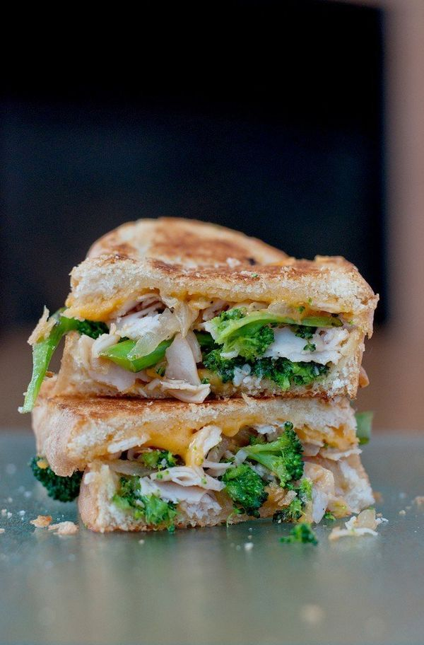 """<strong>Get the <a href=""""http://bsinthekitchen.com/broccoli-cheddar-soup-grilled-cheese/"""">Broccoli & Cheddar Soup Grilled"""
