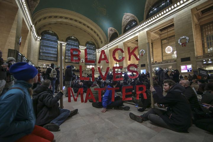 Black Lives Matter protesters gather inside Grand Central Terminal in Manhattan on Dec. 7, 2014.