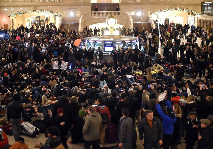 Protesters lie down in Manhattan's Grand Central Terminal during a demonstration on Dec. 3, 2014.