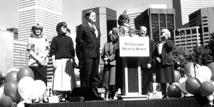 Democrat Pat Schroeder, announcing she will seek the Democratic nomination for the 1988 presidential election.