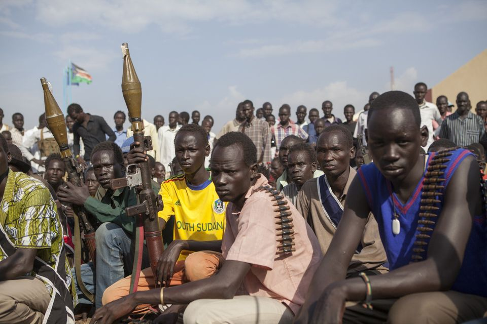Members of the White Army, a South Sudanese anti-government militia, attend a rally in Nasir on April 14, 2014. (ZACHARIAS AB