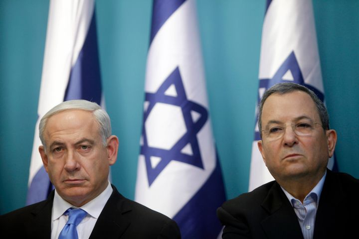 Prime Minister Benjamin Netanyahu and then Defense Minister Ehud Barak ata press conference on Nov.21, 2012 in Jerusalem.&nbs