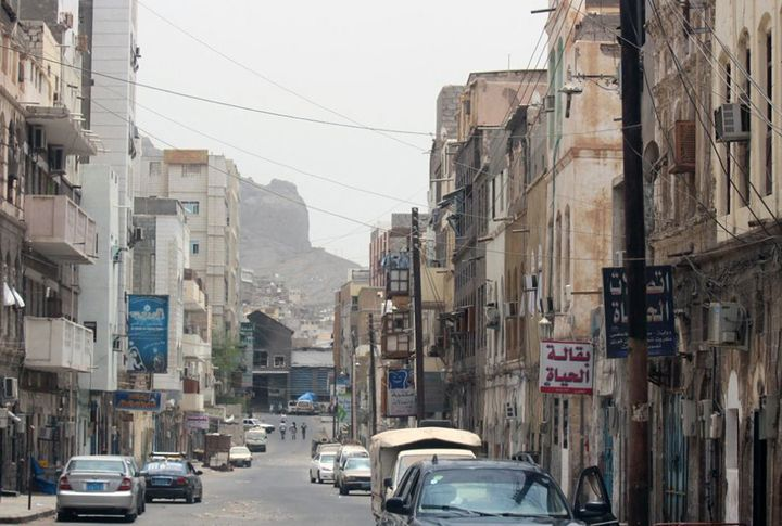 <span>Buildings destroyed during clashes between Yemeni Popular Resistance Forces and Houthi forces of Ansurallah movement in