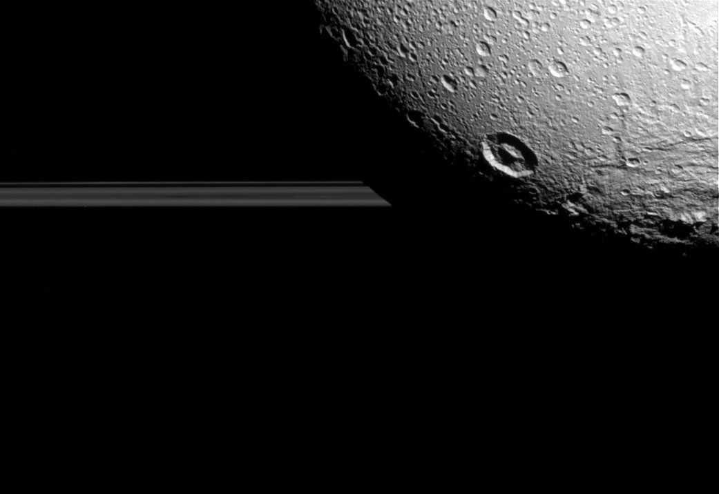 Dione, one of the moons of Saturn.