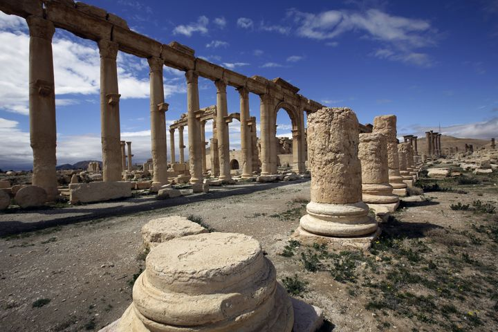 <span> A picture taken on March 14, 2014 shows a partial view of the ancient oasis city of Palmyra, 215 kilometres north