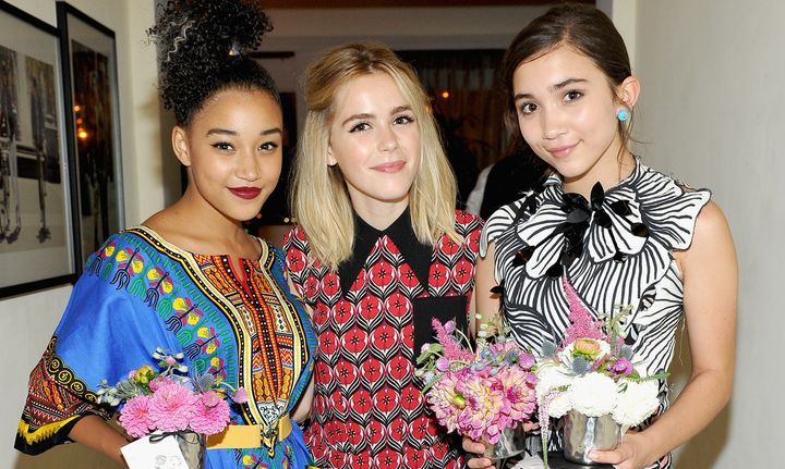 Just a girl in the world with her other super awesome girl friends, Amandla Stenberg and Kiernan Shipka.