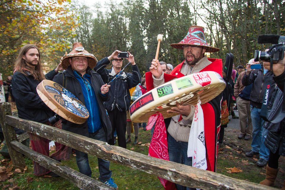 A rally against the proposed Kinder Morgan oil pipeline on Burnaby Mountain in British Columbia,