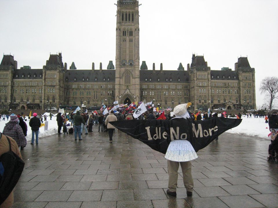 The Idle No More Movement holds a protest on Parliament