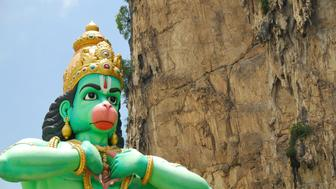 Picture of a giant Lord Hanuman statue erected near Batu Caves in Malaysia. Hanuman is a legendary character/deity featured in the Ramayana epic.