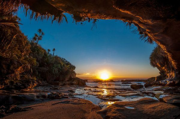 <p>Sunset on the island's west coast.</p>