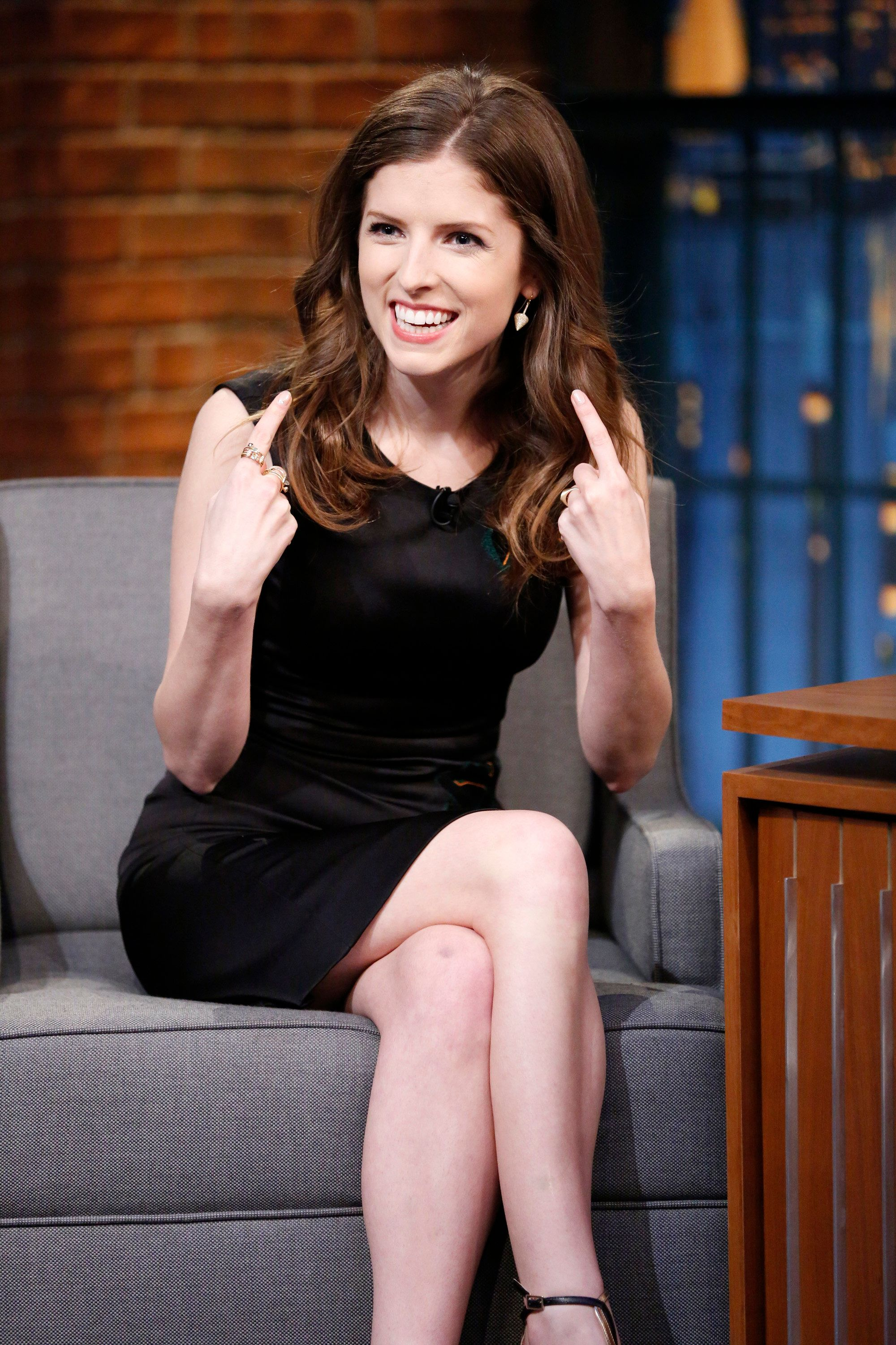 LATE NIGHT WITH SETH MEYERS -- Episode 207 -- Pictured: Actress Anna Kendrick during an interview on May 14, 2015 -- (Photo by: Lloyd Bishop/NBC/NBCU Photo Bank via Getty Images)