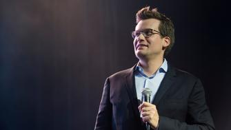 DALLAS, TX - JULY 16:  John Green speaks during a Q&A on the 'Paper Towns' Get Lost Get Found tour at The Bomb Factory on July 16, 2015 in Dallas, Texas.  (Photo by Cooper Neill/Getty Images for Allied-THA)
