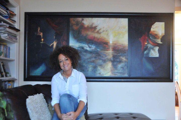 Rachel Dolezal with her Turner-esque painting.