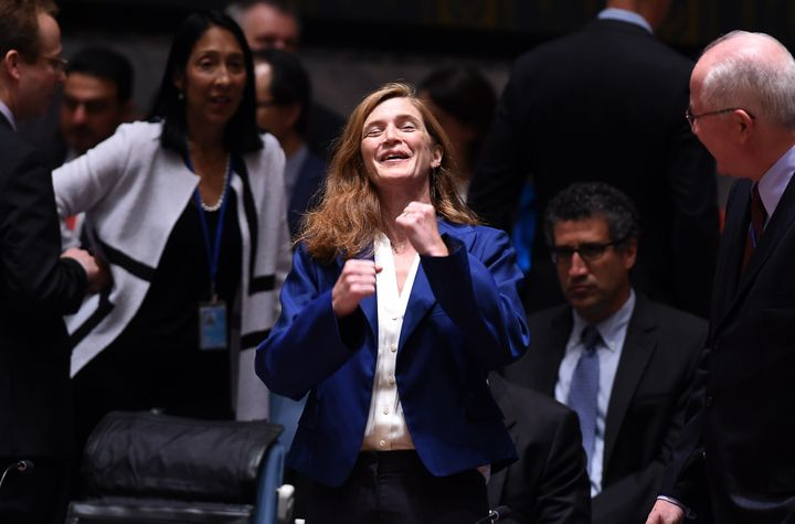 <span>U.S. Ambassador to the United Nations Samantha Power gestures as she arrives for a Security Council meeting to vote on