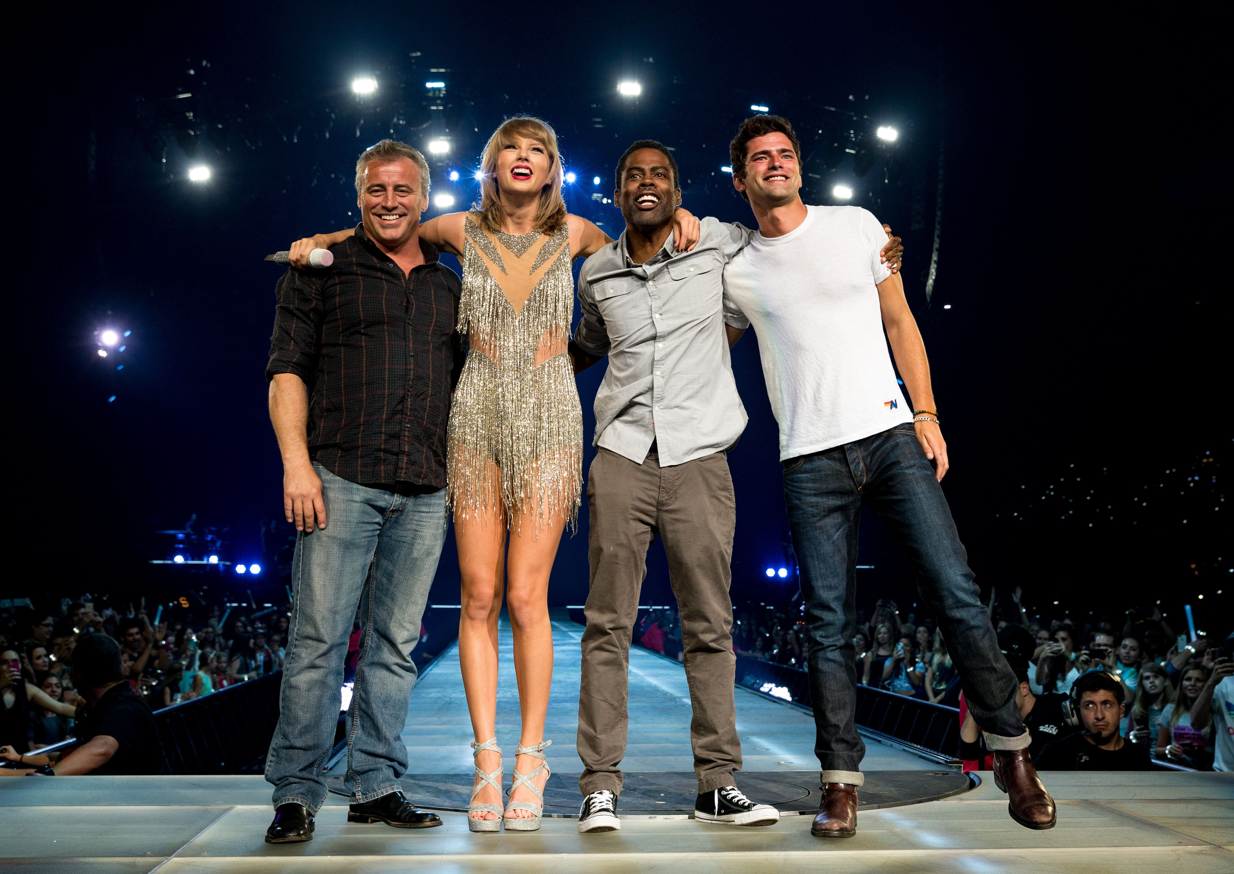 LOS ANGELES, CA - AUGUST 22:  (L-R) Actor Matt Leblanc, singer-songwriter Taylor Swift, comedian Chris Rock and actor Sean O'Pry perform onstage during Taylor Swift The 1989 World Tour Live In Los Angeles at Staples Center on August 22, 2015 in Los Angeles, California.  (Photo by Christopher Polk/Getty Images for TAS)