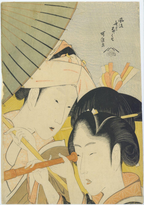 « Longue vue »  Série : Sept manies des jeunes femmes sans élégance  Fūryū nakute nanakuse Tōmegane  Ère Kyōwa (1801-1804)  E