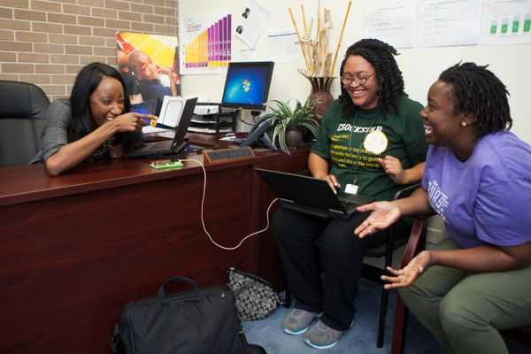 Principal Krystal Hardy (from l.), Kyley Pulphus, recruitment manager, and Kelsi Brooks King, director of early teacher devel