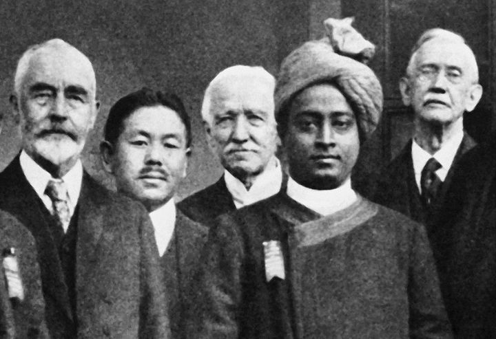 A few of the delegates to the International Congress of Religious Liberals, October 1920, Boston, at which Yogananda gave his