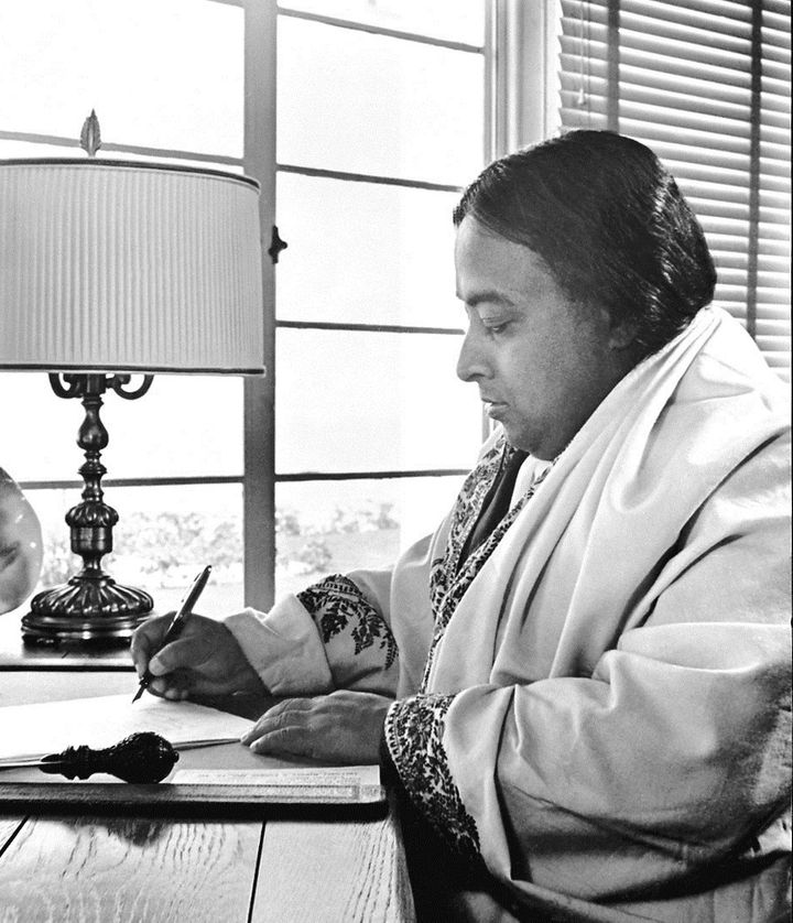 Yogananda in his study at the Encinitas Hermitage in 1938, where he dedicated himself fully to his literary effort, including