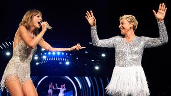 LOS ANGELES, CA - AUGUST 24:  Singer-songwriter Taylor Swift (L) and comedian Ellen DeGeneres perform onstage during Taylor Swift The 1989 World Tour Live In Los Angeles at Staples Center on August 24, 2015 in Los Angeles, California.  (Photo by Christopher Polk/TAS/Getty Images for TAS)