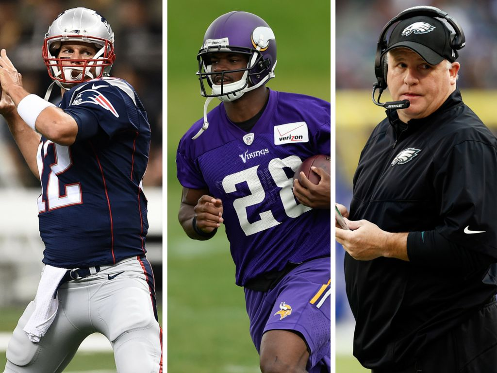 <p>Superstars Tom Brady and Adrian Peterson, along with Philadelphia Eagles head coach Chip Kelly, are all sure to be huge topics of conversationthis season.</p>