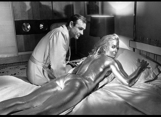 Above: Sean Connery on the set of Goldfinger with Shirley Eaton, who played the ill-fated Jill Masterson.