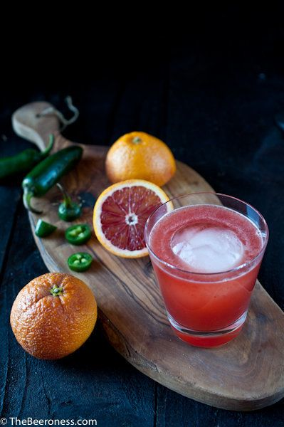 """<strong>Get the <a href=""""http://thebeeroness.com/2014/01/17/bloody-hell-blood-oranges-jalapeno-whisky-beer-cocktail/"""" target="""