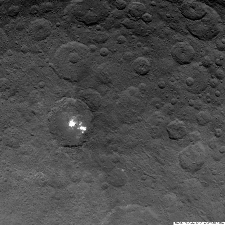 Ceres' reflective patches are seen in this photo taken on June 6, 2015 by NASA's Dawn spacecraft.