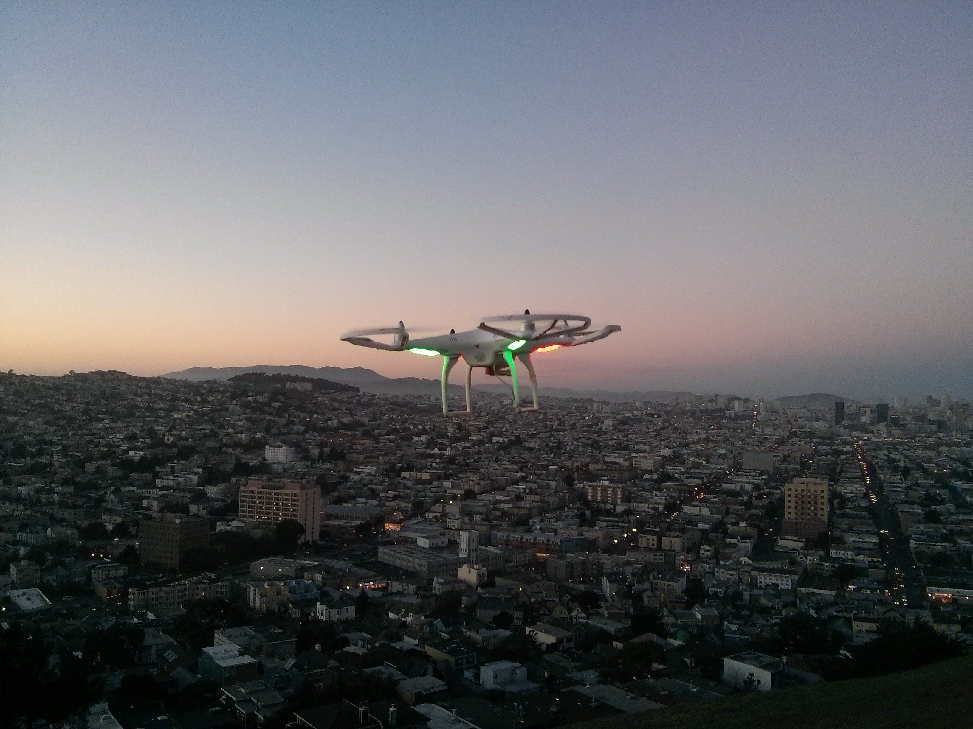 A drone flies over San Francisco.