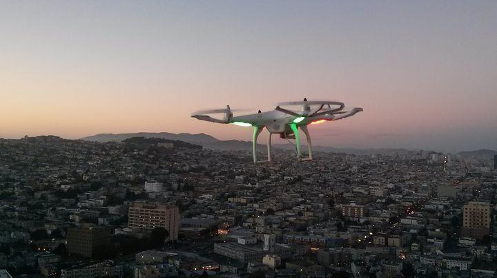 A drone flies over San Francisco.