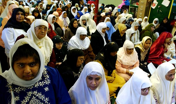 Women prepare for the Women's Mosque of America's first monthly Friday prayer, called jumma'a, at the Pico Union Project in d