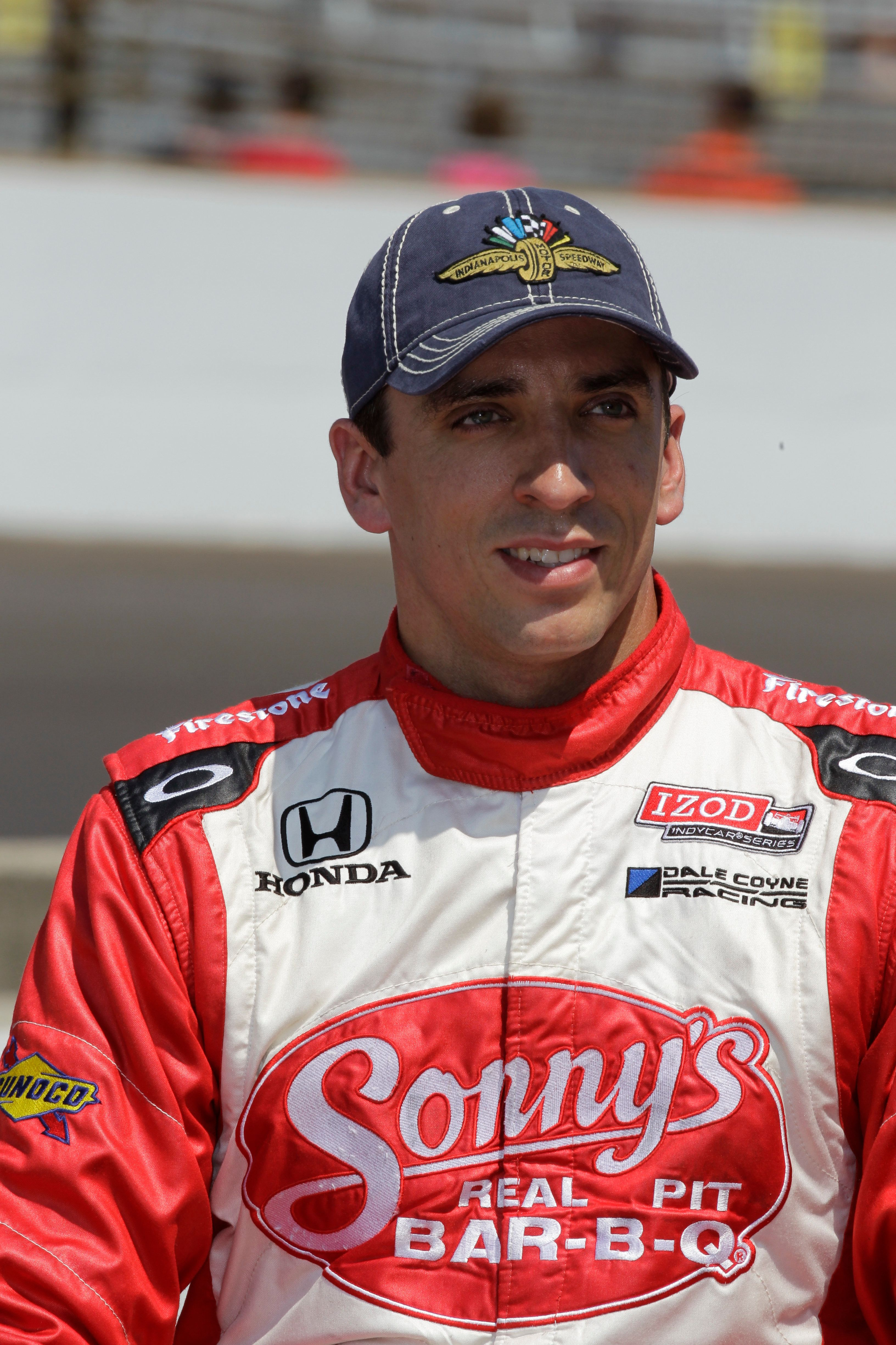 IndyCar driver Justin Wilson, of England, is shown after he qualified for the Indianapolis 500 auto race at the Indianapolis Motor Speedway in Indianapolis, Saturday, May 19, 2012. (AP Photo/Dave Parker)
