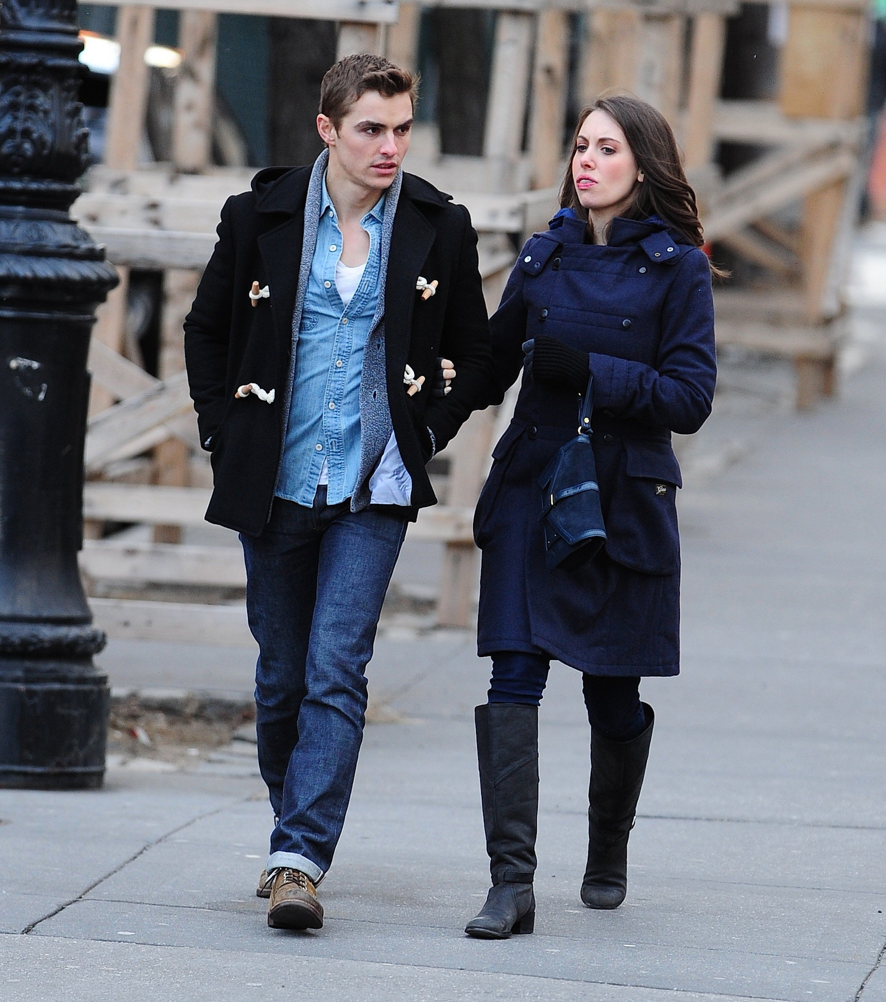 NEW YORK, NY - FEBRUARY 01: Dave Franco and Alison Brie are seen in the West Village  on February 1, 2013 in New York City. (Photo by Alo Ceballos/FilmMagic)