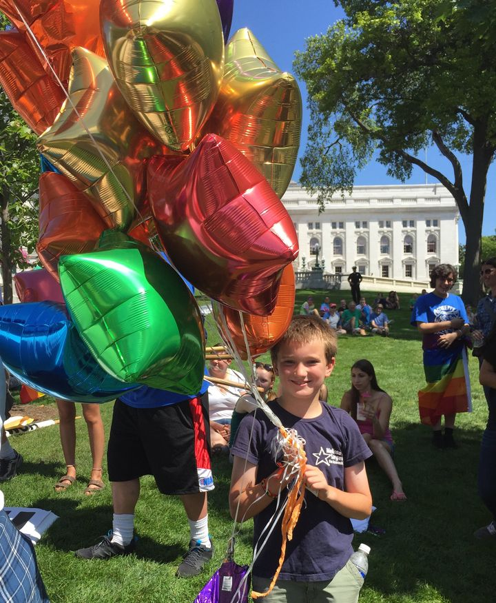 Keanan Sargent, 9, stood up to anti-gay protesters during a pride rally earlier this month in Madison, Wisconsin.